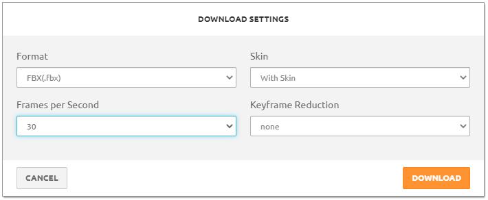 Mixamo Download settings