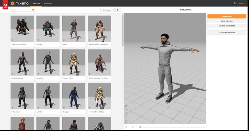 3D Models selection in Mixamo.com