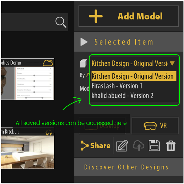 All versions are stored in drop down menu in the shared model's selected item panel.